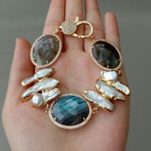 Cultured White Biwa Pearl Yellow gold plateed Labradorite Bracelet 8''