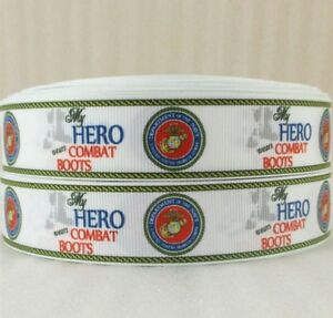 """BTY 7/8"""" Marines My Hero Wears Combat Boots Grosgrain Ribbon Hair Bows Lisa"""