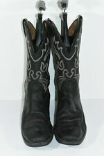 ARIAT MENS 10 EE BLACK LEATHER SQUARE TOE CLASSIC WESTERN COWBOY BOOTS
