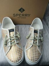 New ~ Sperry Women's Seacoast Gold & White Houndstooth Fashion Sneaker Size 7.5