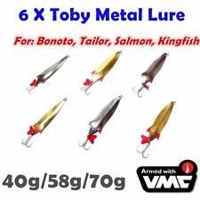 6X 40g,58g,70g  Toby Metal Spoon Jig Casting Lures Bonito Tailor Salmon Kingfish
