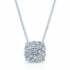14k White Gold Diamond Square Cushion Cluster Pendant Necklace Round Cut Natural