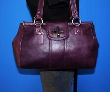 DANIER LARGE Purple Leather Turn-Lock Shopper Tote Carryall Shoulder Purse Bag