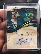Christian McCaffrey 2020 Panini Immaculate Records Auto 1/25 Panthers Autograph