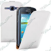 Accessorio Cover Custodia Bianco PU Vero pelle Samsung Galaxy Core 4G LTE G386F