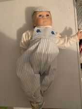 "Hard Plastic Decorative Doll Little Boy Blond Hair Overalls Hat Royal Vienna 20"""