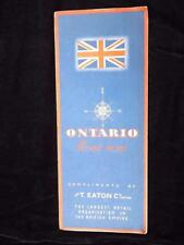 EATONS ROAD MAP OF ONTARIO COMPLIMENTS CANADA LARGEST RETAIL ORGANIZATION