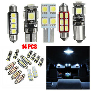 14PCS White LED Lights Interior Package Map Dome + License Plate white 6000k