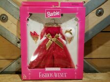 Barbie Vintage New Fashion Avenue Eveningwear Red Gold Gown Clothes Swanky Barn