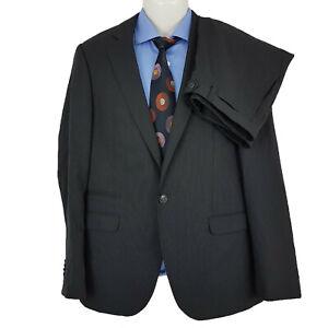 Calibre Men's 2 Pieces Suit Pinstripe Black Sleek2 Wool/Poly Sz 107 R SU09