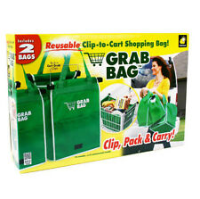 As Seen On Tv Grab Bag Clip-To-Cart Reusable Grocery Shopping Bags Pack of 2 SB