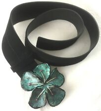 Chic Jaeger Suede Leather Belt Metal Turquoise Flower Buckle Blogger Italy M