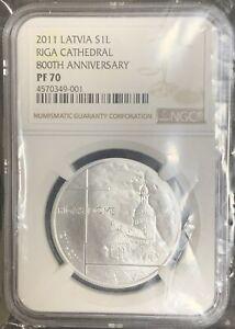 NGC PF70 Latvia 2011 Riga Cathedral Angel 800th Anniversary Silver Coin 1 Lat