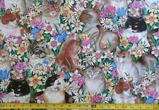Kitty Cat Paws in the Flowers Tabby Cats Garfield & Mice Fabric 6 Fabric Pieces