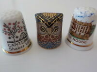 Set of three (3) fine bone china thimbles Cottage thimbles made in England