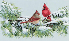 Cross Stitch Kit ~ Dimensions Winter Cardinals Snowy Branch Perch #35178