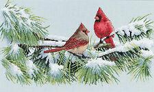 Cross Stitch Kit ~ Dimensions Winter Cardinals Snowy Branch Perch #35178