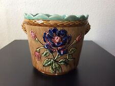 Cache-pot barbotine Fives Lille décor floral pavots signé De Bruyn Art Nouveau
