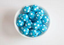 Sky Blue Polka Dot 20mm Chunky Acrylic Beads 10 ct for Bubblegum Necklace
