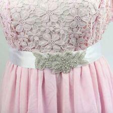 Accessoire mariage , Ceinture robe de mariée satin blanc, perles et strass