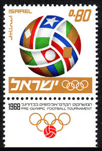 Israel 361 tab, MNH.Pre-Olympic soccer tournament.Flags forming soccer ball,1968
