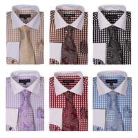 Men's Checker Dress Shirt Set French Cuff w/ Matching Cuff-Links #615
