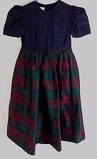 Strasburg Size 8 100% Silk Blue Ruffled Top Plaid Dress Lining Short Sleeves