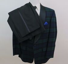 Brooks Brothers Wool Tartan Plaid Tuxedo Dinner Jacket Pants Suit 46 L EUC USA