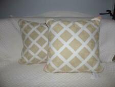 "$140, 2 Martha Stewart Village Peony Lattice 18"" Square Pillows, White/Natural"