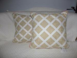 "$140, 2 Martha Stewart Village Peony Lattice 18"" Square Pillows, White/Natural"
