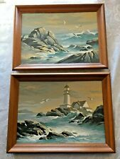Vtg Paint by Number Seascape Lighthouse Scene Framed 16 x 12 Pictures LOT of 2