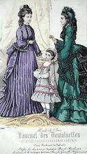 GRAVURE MODE ANCIENNE 19e - JOURNAL DES DEMOISELLES ETOFFES MAGASINS PYGMALION