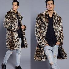 Men's Warm Fur Leopard Coat Long Jacket Faux Fox Fur Collar Outwear Plus size