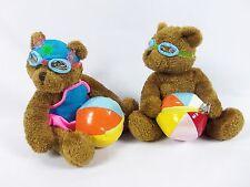 2 Galerie Au Chocolat Beach Teddy Bears Hat Plush Stuffed Animal Toy