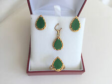 - 14K Yellow Gold Green Jade -O11 Jewelry set of Jade Earring, Pendant, and Ring