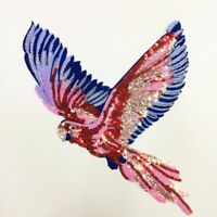 Parrot Sequins Patches Embroidered Sew on Applique Clothing Decor Accessories