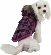 PUPPIA Authentic Argyle Mode Hooded Winter Coat for Dog Pets Large Purple