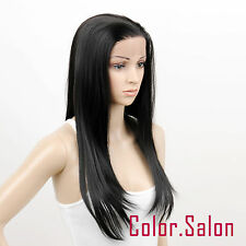 Hand Tied Lace Front Full Wigs Glueless Synthétique Perruque Noir 96#1B
