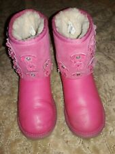 UGG AUSTRALIA  PINK FLORA YOUTH SHORT BOOTS IN GREAT PRE-OWNED CONDITION