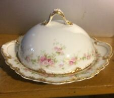 Theodore Haviland LIMOGES 1904-25 Round Butter w/ Lid Morning Glory Schl 855B
