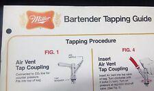Miller Beer Vintage Bartender Tapping Guide - 1980's - 1 Owner