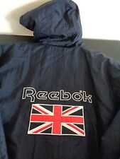REEBOK Men's VINTAGE Jacket BRITISH FLAG Logo Size 2XL Hip Hop RETRO Blue