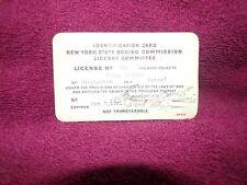 vintage original 1921 boxing licence identifiction card
