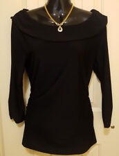 REVIEW stretchy Black TOP  / Blouse  Sz 12 . Attractive collar. AS NEW