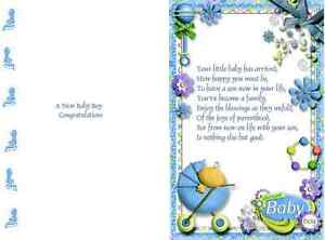 15    mixed colour new baby design verse inserts or A6 Card