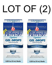 2 x 10ml Bottles  REFRESH OPTIVE Lubricant Eye GEL Drops  EXTENDED THERAPY Sooth
