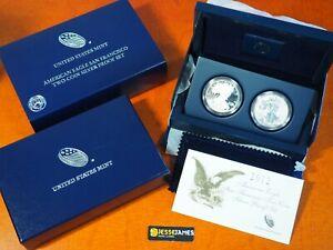 2012 S REVERSE PROOF SILVER EAGLE 2 COIN SAN FRANCISCO SET WITH BOX/COA