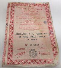 1 Bon action titre ancien: Caisse nationale de l'Energie 1955