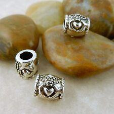 3 Antique Silver Irish Claddagh euro style bead
