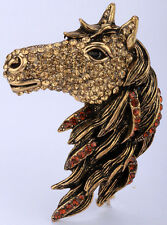 Horse pin brooch pendant animal bling jewelry gifts for women silver gold QBA17